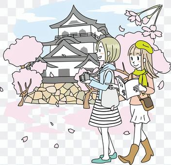 Castle girl and cherry blossoms