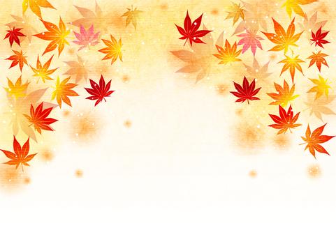 日本紙水彩風格秋葉蓬鬆背景水平