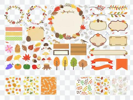 Autumn frame icon pattern decoration