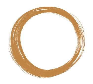 用畫筆繪製的圓圈和金色