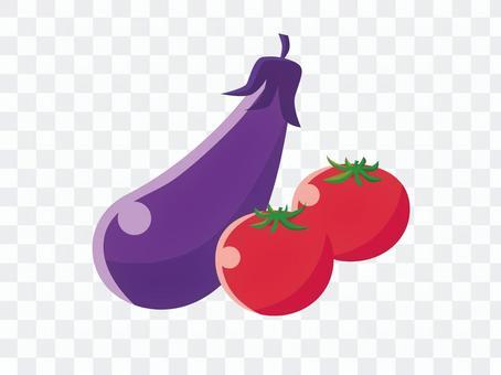 シンプルな夏野菜イラスト(トマト・茄子)
