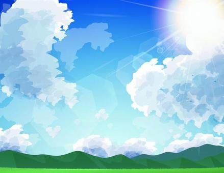 Mountain and sky _ background sun