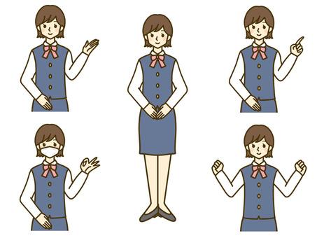 Reception office female whole body upper body