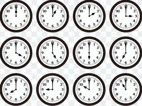 現實簡單的掛鐘12小時