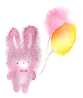 兔子用氣球透明水彩手繪出血