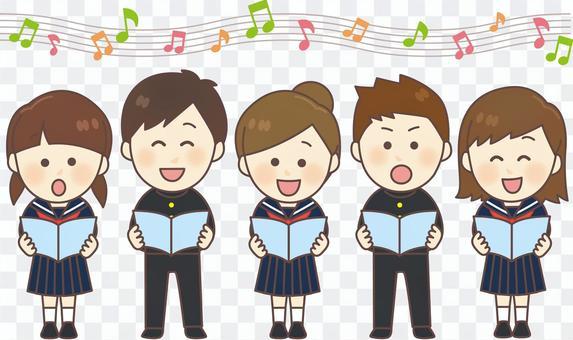 制服男女5人_合唱橫1列