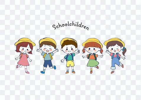 Energetic elementary school student