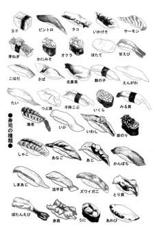 製作壽司卡通和插圖切口的材料集合