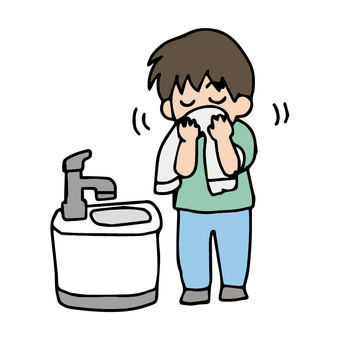 A child who wipes his face with a towel after gargling or washing his face