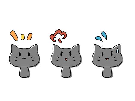 貓(3種面部表情)