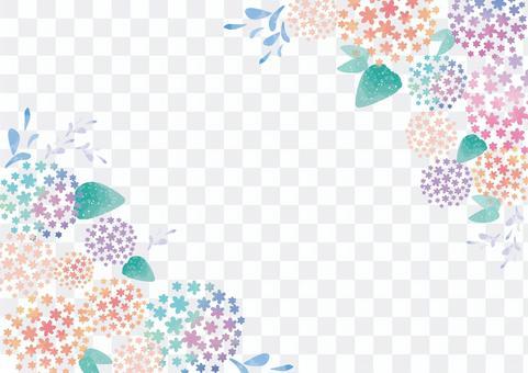水彩風格淡繡球花素材
