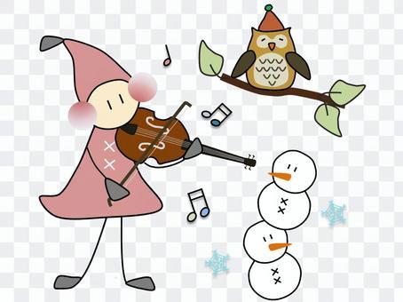 小矮人_冬天_小提琴