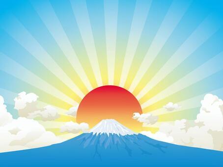 Fuji and sunrise background 01