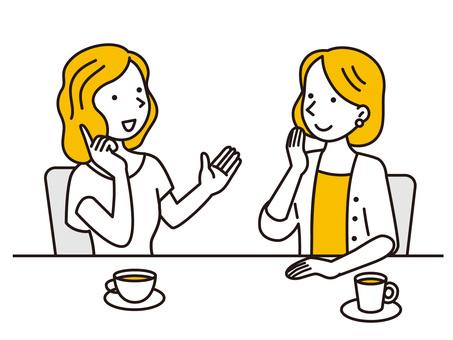 與兩個女人聊天的下午茶時間