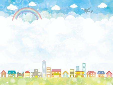 議院框架框架地平線夏天天空水彩手寫的例證