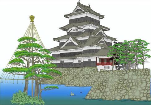 松本城 雪吊り