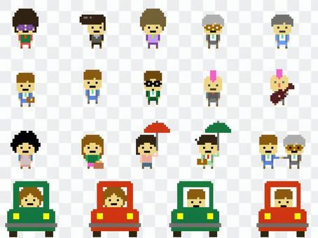 Pixel art material Full of people (1)