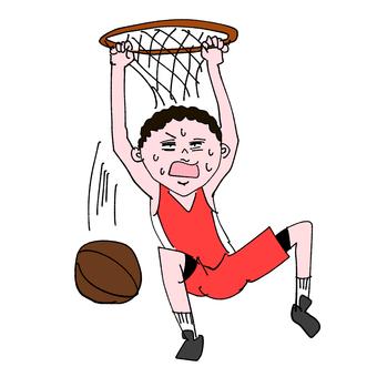 Comical illustration basketball dunk shoot