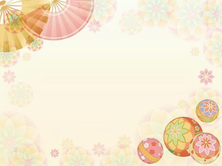 球和花背景