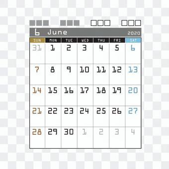 2020 Calendar Techno June