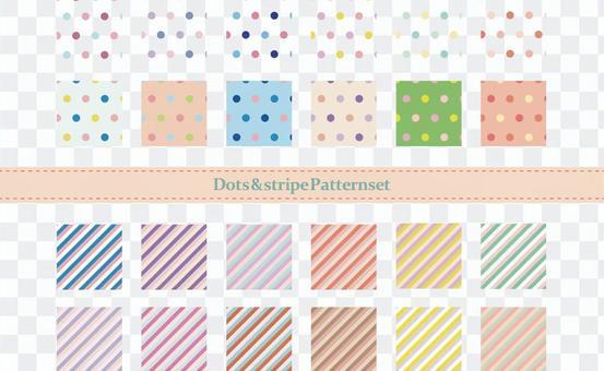 多色點和條紋圖案