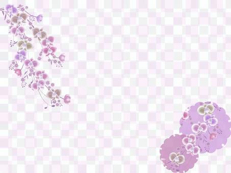 胡蝶蘭と市松模様のフレーム素材
