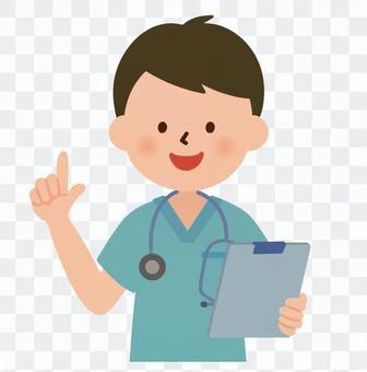 医療-説明する術衣を着た男性医師(上半身)