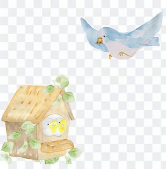 Hand-painted watercolor birdhouse birdhouse blue bird