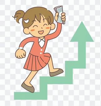 収入アップ 階段を上る女性