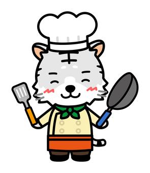 有煎鍋的白虎廚師