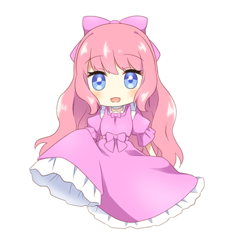 Pink-haired girl in a pink dress