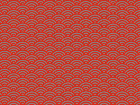 日本紋青海波浪紋紅黑