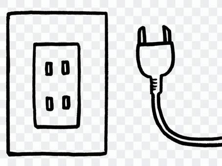 插座和電線/線條圖