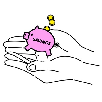 小豬存錢罐和手(英文)