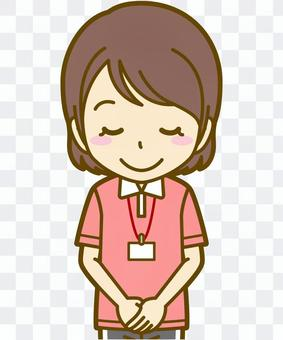 女性(ポロシャツ):A_お辞儀01BS