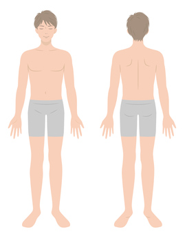 Male body Full body Front and back
