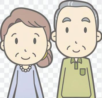 Old man and woman d-front-bust