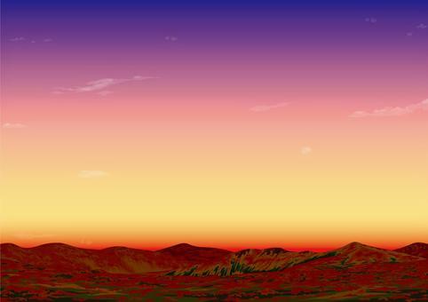高原在黃昏的秋葉