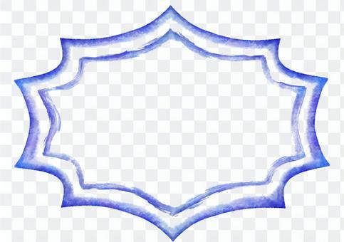 復古相框的水彩·鋸齒狀的藍色