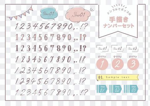 Hand drawn number number set