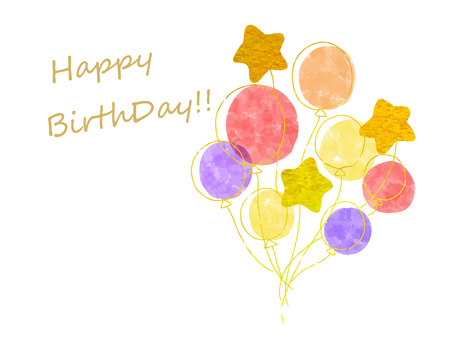 星星和氣球背景生日賀卡