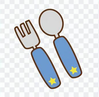 Spoon & Fork (Blue)