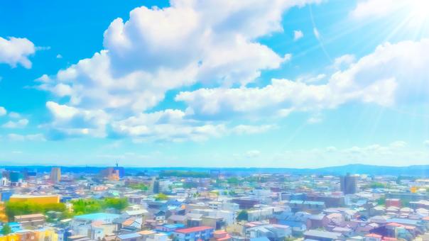 從建築物的屋頂俯瞰的城市景觀