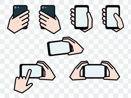操作智能手機插圖集彩色的手