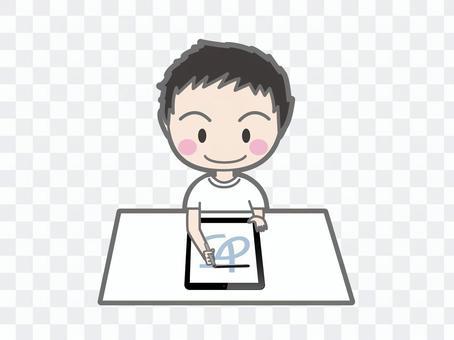 一個男孩在平板電腦上練習字符