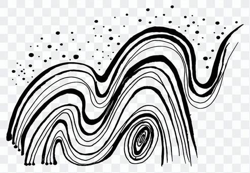 波毛筆插圖手寫