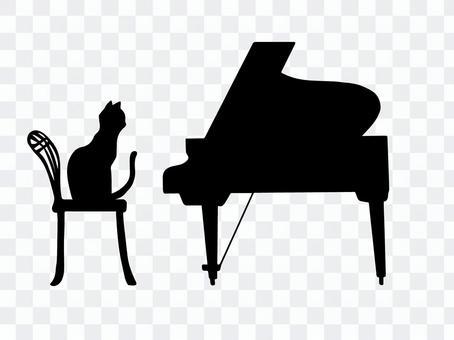 鋼琴和貓(剪影)