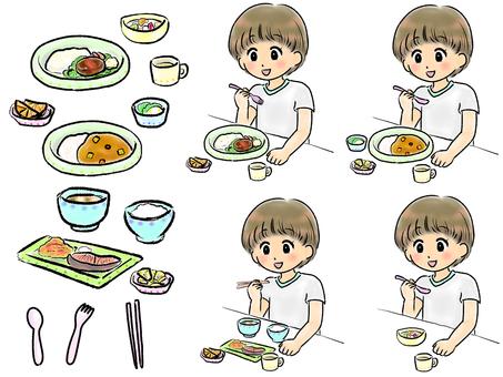 孩子們吃學校午餐
