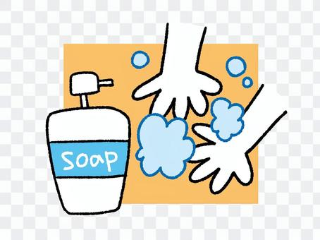 Hand wash illustration with background