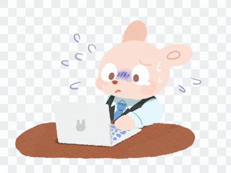 不耐煩的兔子在工作的插圖